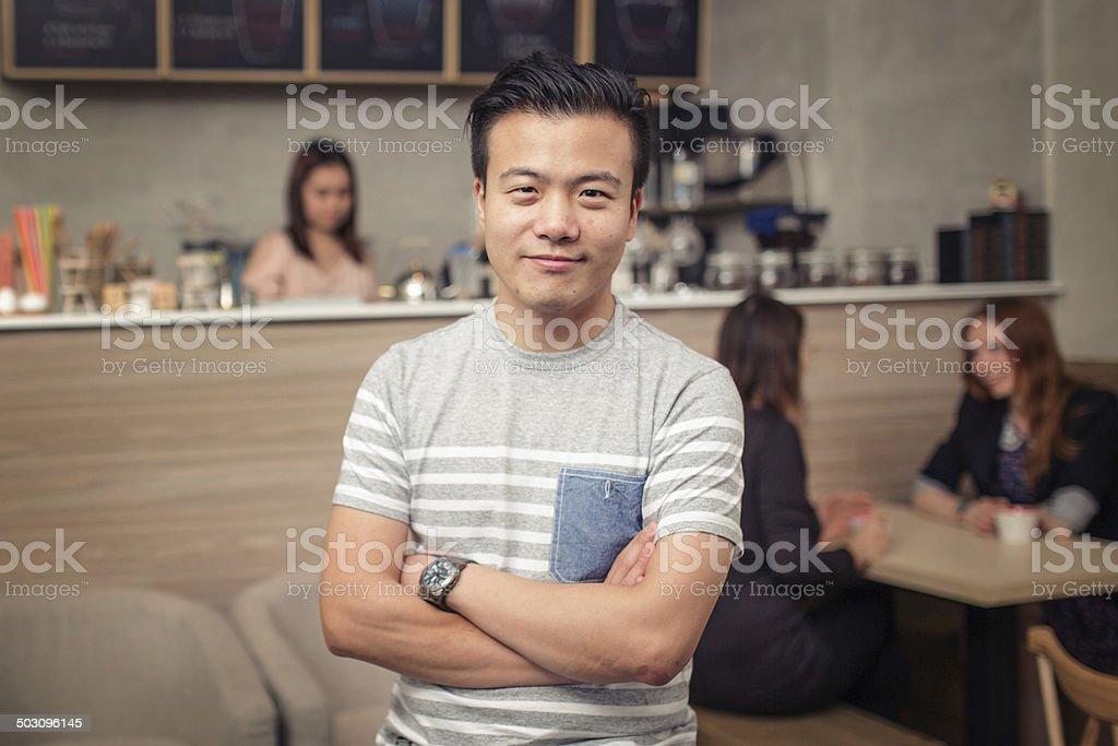 Small cafe owner royalty-free stock photo