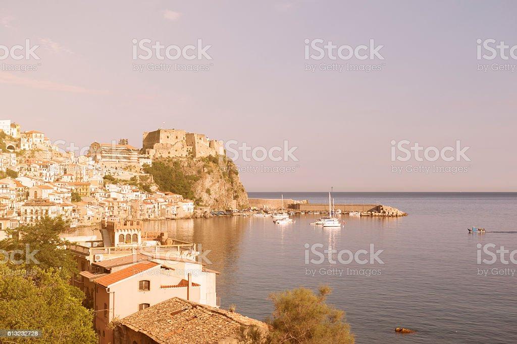 small Calabrian town Scilla near strait stock photo
