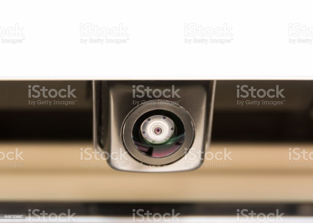 Small camera attached to car/Car rear camera stock photo