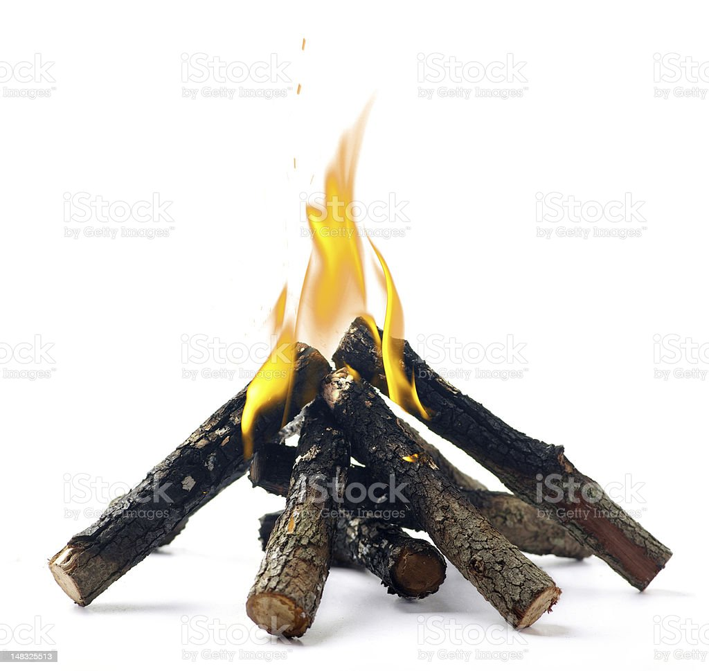 Small campfire with fake flame on a white background stock photo