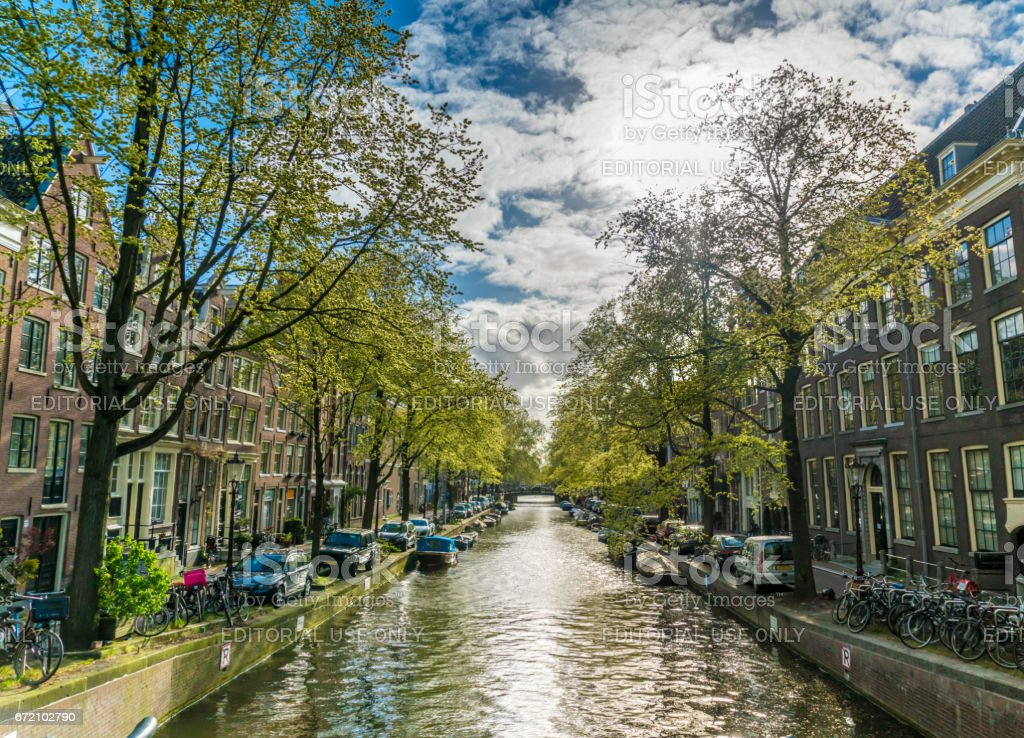 Small Canal in Amsterdam stock photo