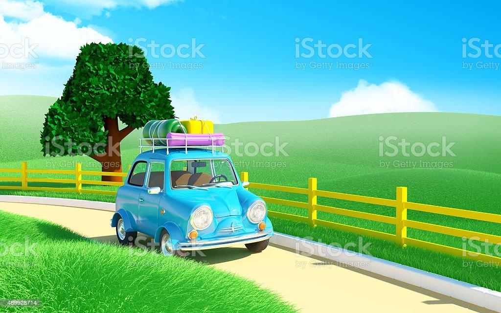 small car in farm field stock photo