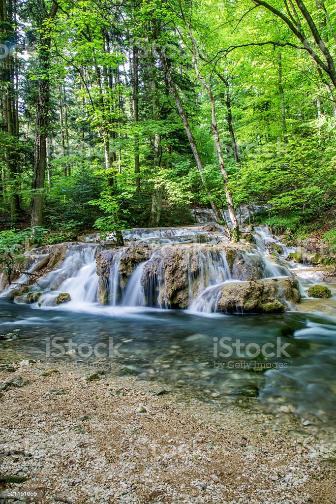 Small cascade on the river stock photo