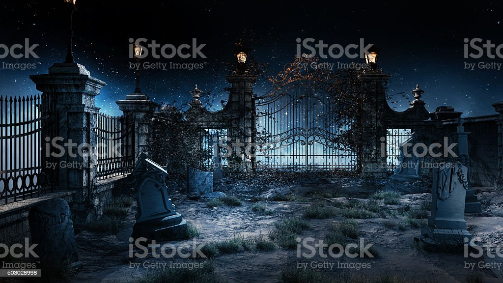 Small cemetery stock photo