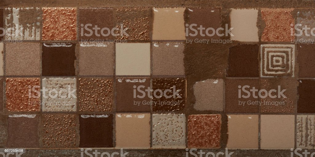Small ceramic square tiles stock photo