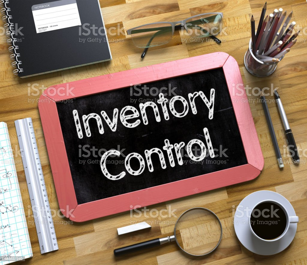 Small Chalkboard with Inventory Control. 3D stock photo