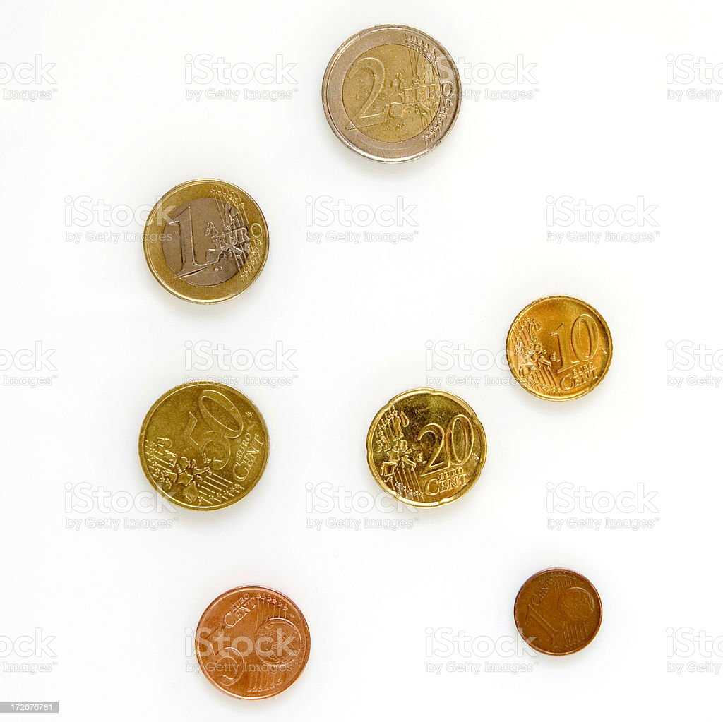 Small Change (European Coins) on White royalty-free stock photo