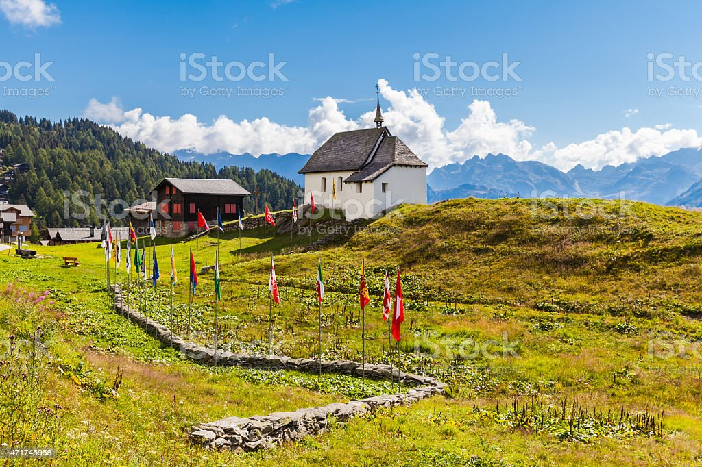 Small Chapel at Village Bettmeralp stock photo