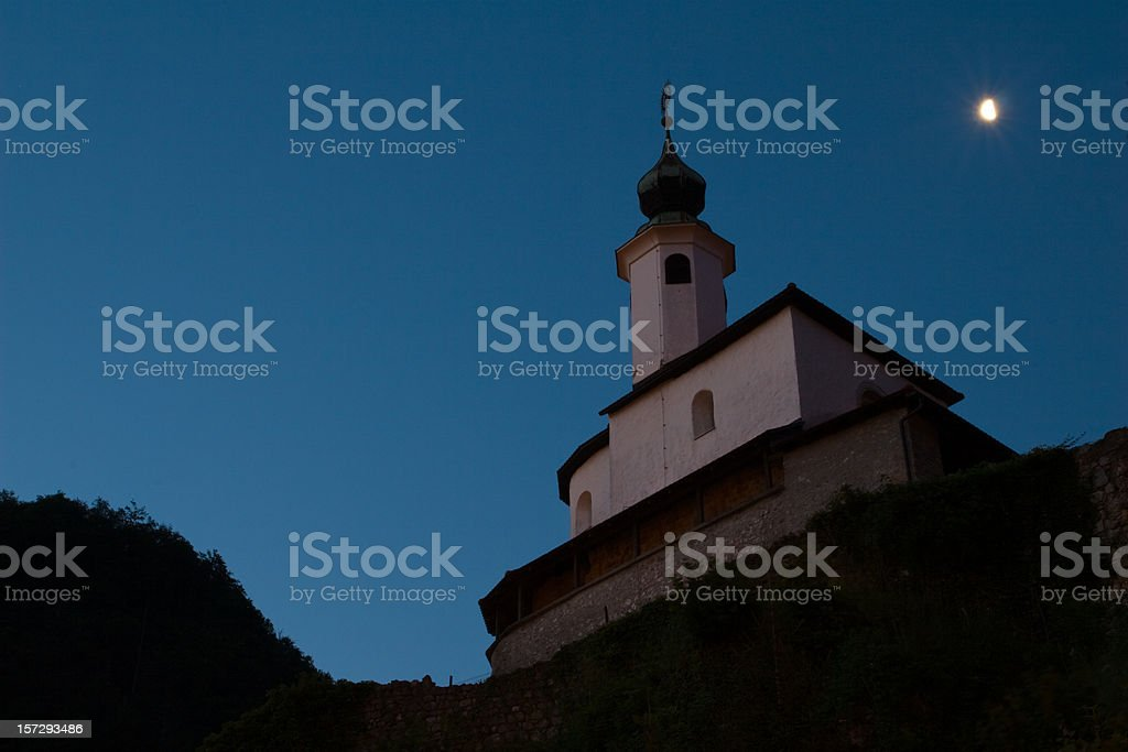Small chapel in early morning stock photo