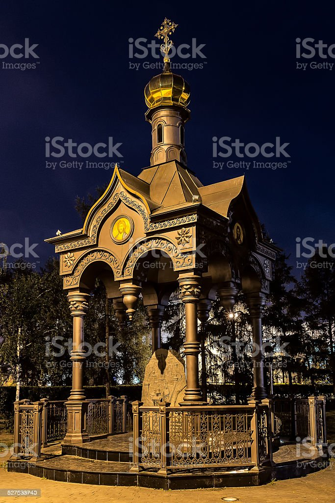 Small chapel in Irkutsk, a monument to the city founders stock photo