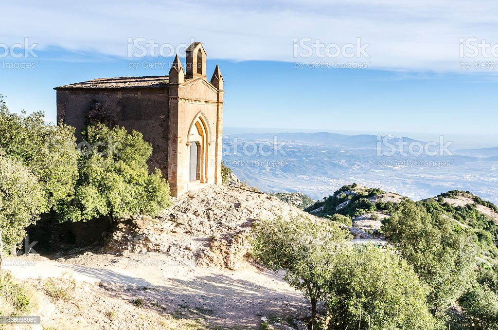 Small Chapel in Montserrat. Barcelona, Catalonia, Spain. stock photo