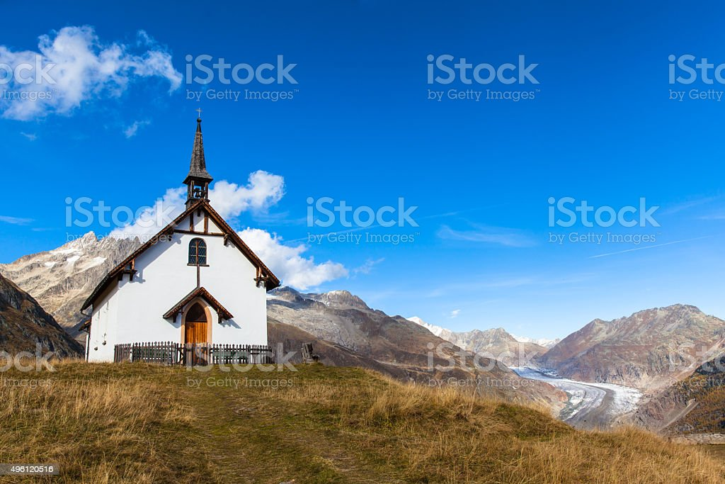 Small chapel in Swiss Alps stock photo