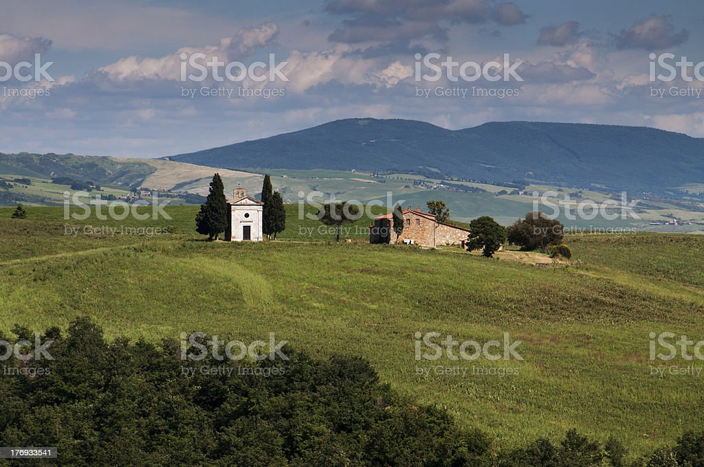 Small chapel in the Val d'Orcia stock photo