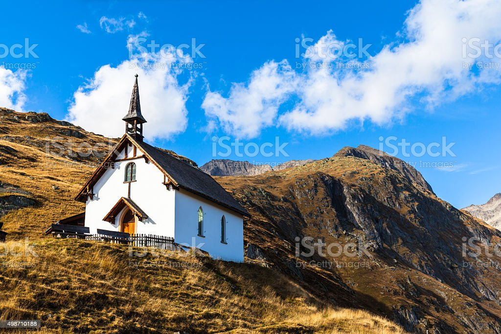 Small chapel of Belalp in Swiss Alps stock photo