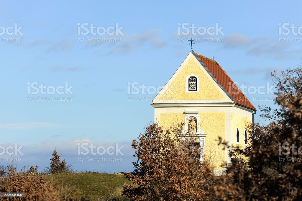 Small chapel on a hill near the quarry stock photo