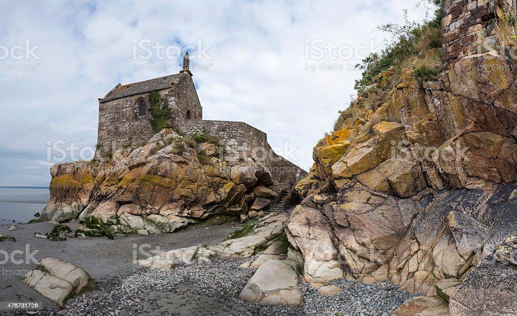 Small chapel outside Saint Michel abbey stock photo