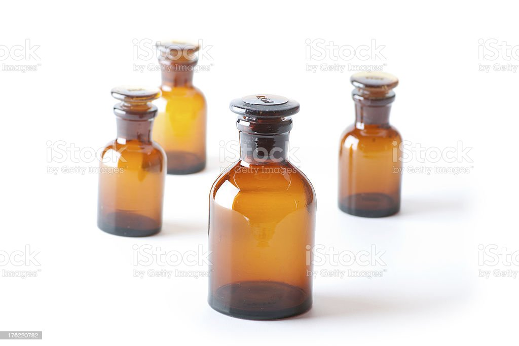Small chemical glass bottles royalty-free stock photo