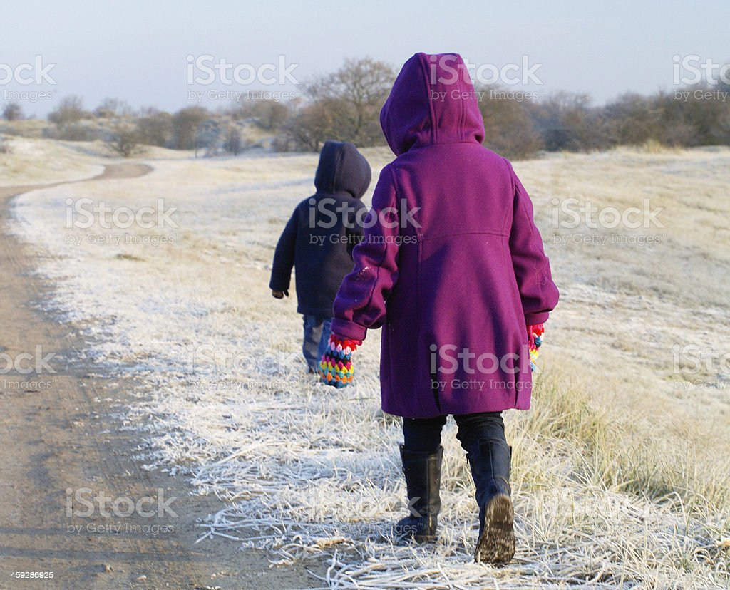 small children in a forsty dune landscape royalty-free stock photo