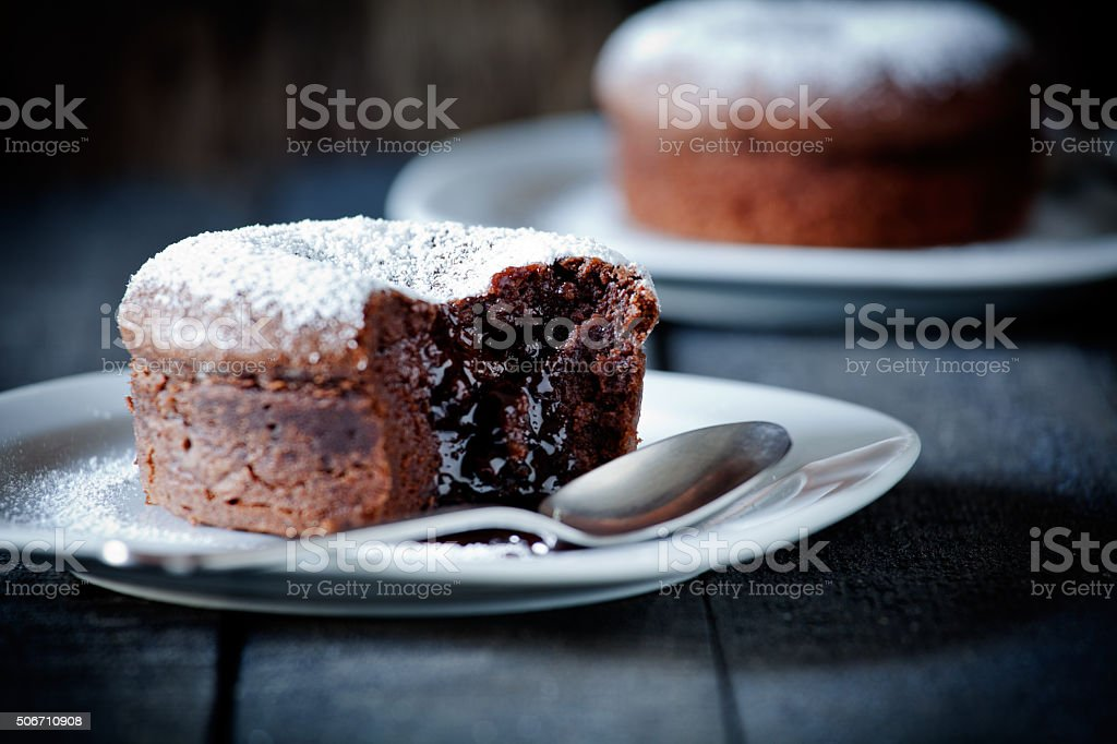 Small Chocolate Mud Cakes stock photo