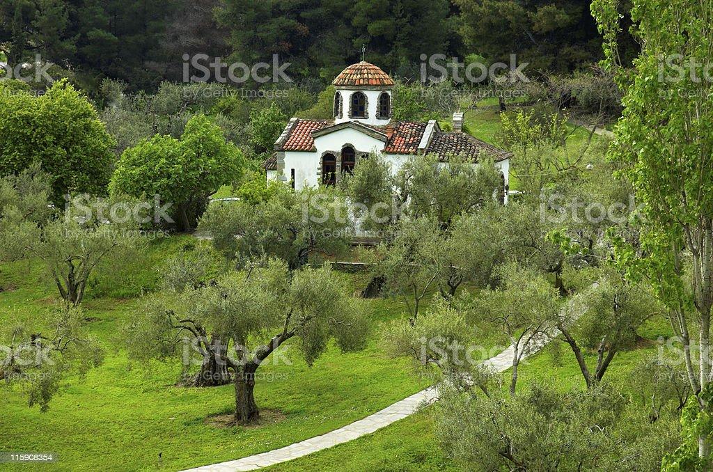 Small christian church royalty-free stock photo
