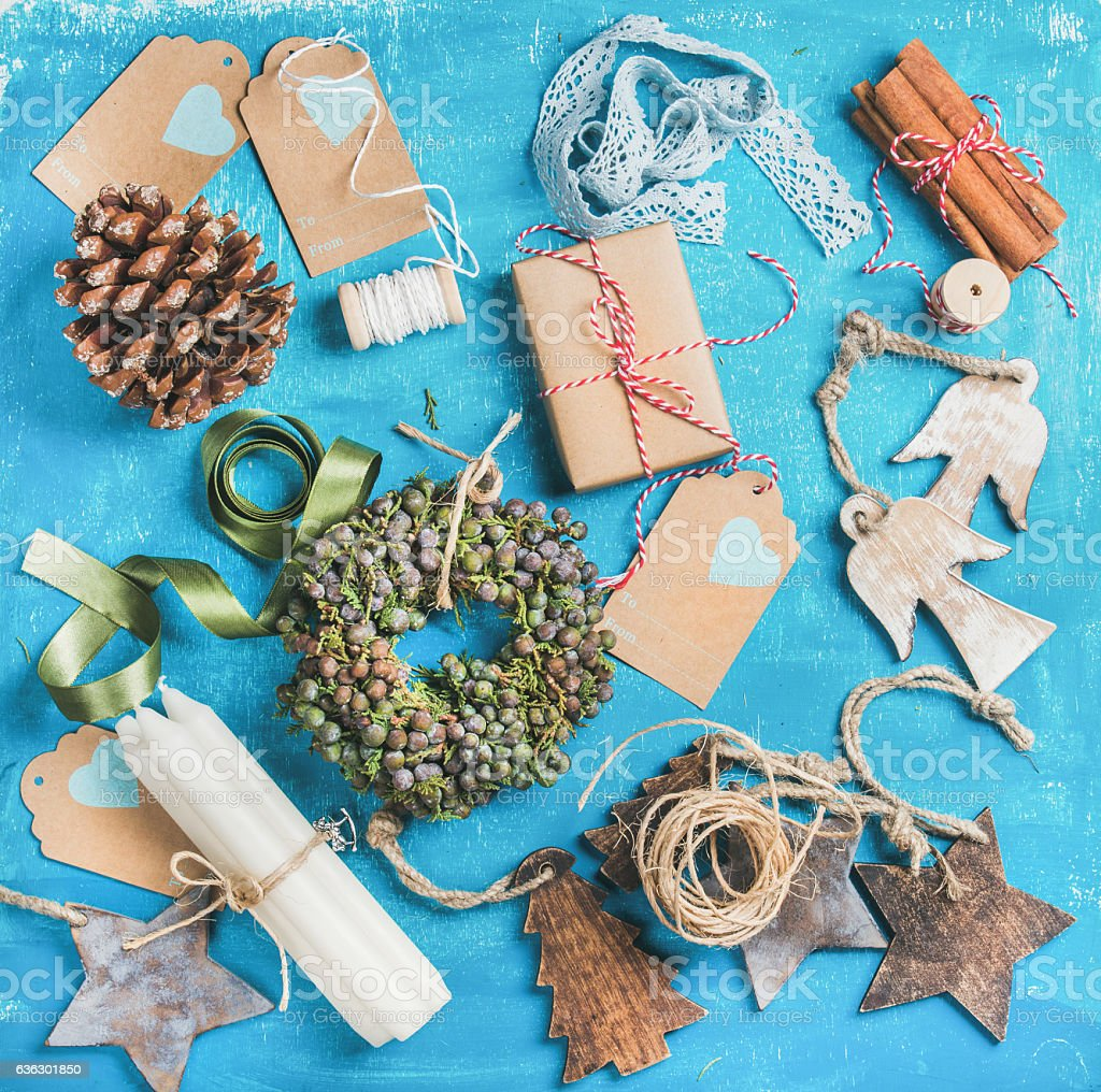 Small Christmas decorative wreath and materials for making decoration stock photo