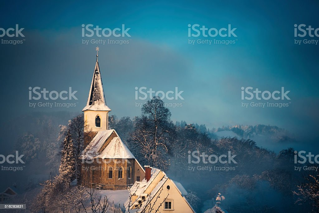 Small Church After The Snow Storm stock photo