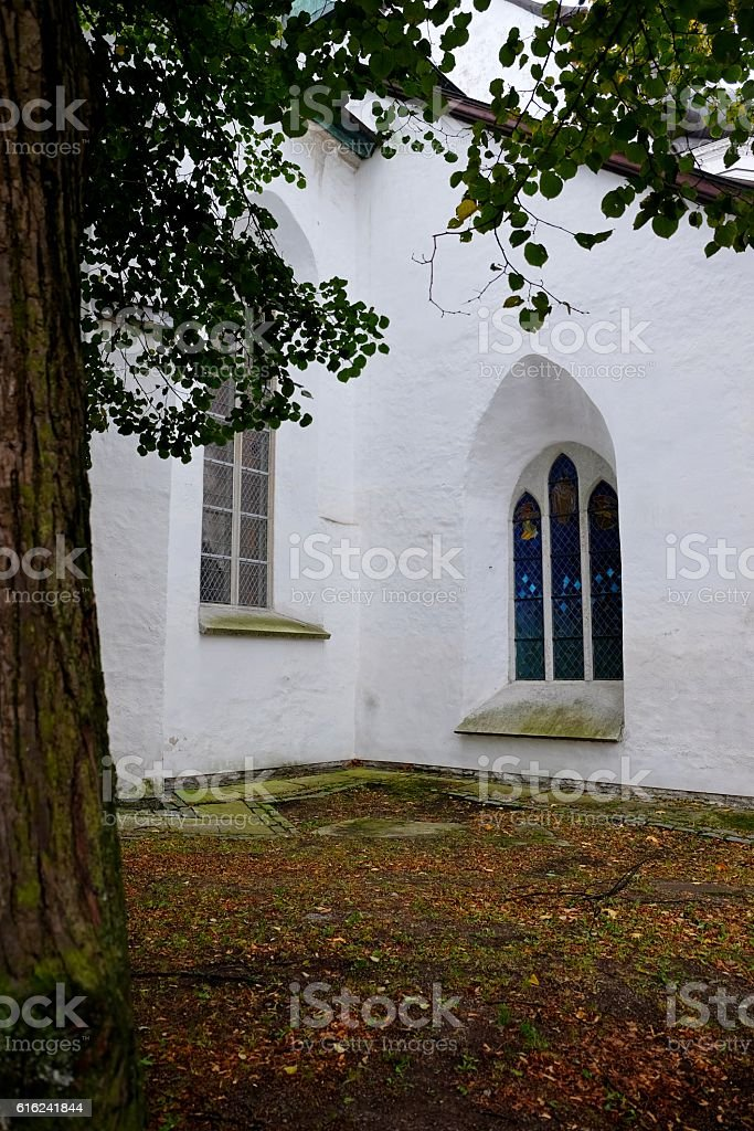 Small Church coutryard. stock photo