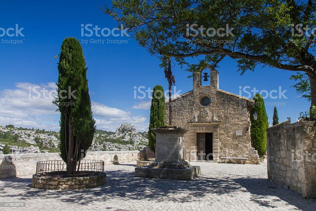 Small church in Les Baux De Provence stock photo