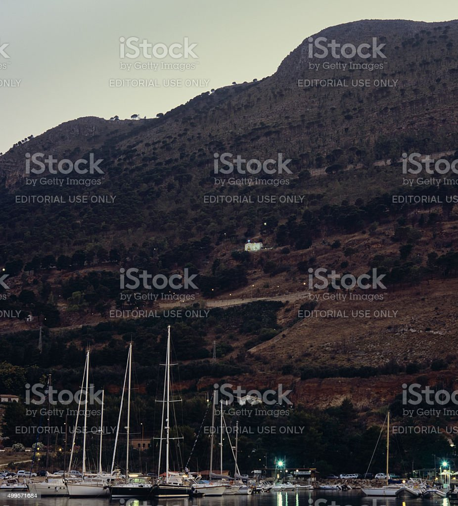 Small Church in Sicily looking over the sea stock photo
