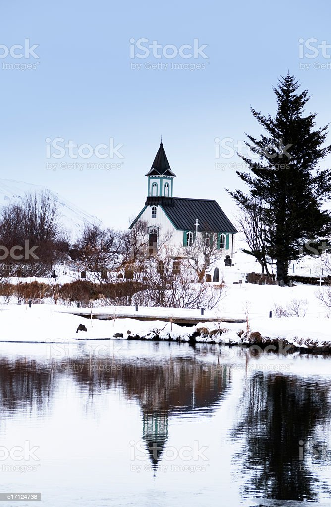 Small churchand graveyard  in Thingvellir National Park in Iceland stock photo