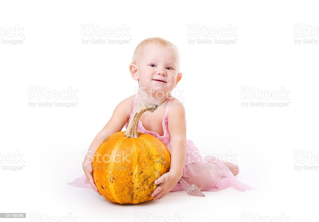 Small Cinderella with pumpkin and crystal shoe royalty-free stock photo