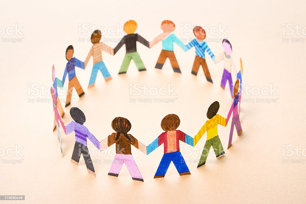 Small circle of diverse children playing royalty-free stock photo
