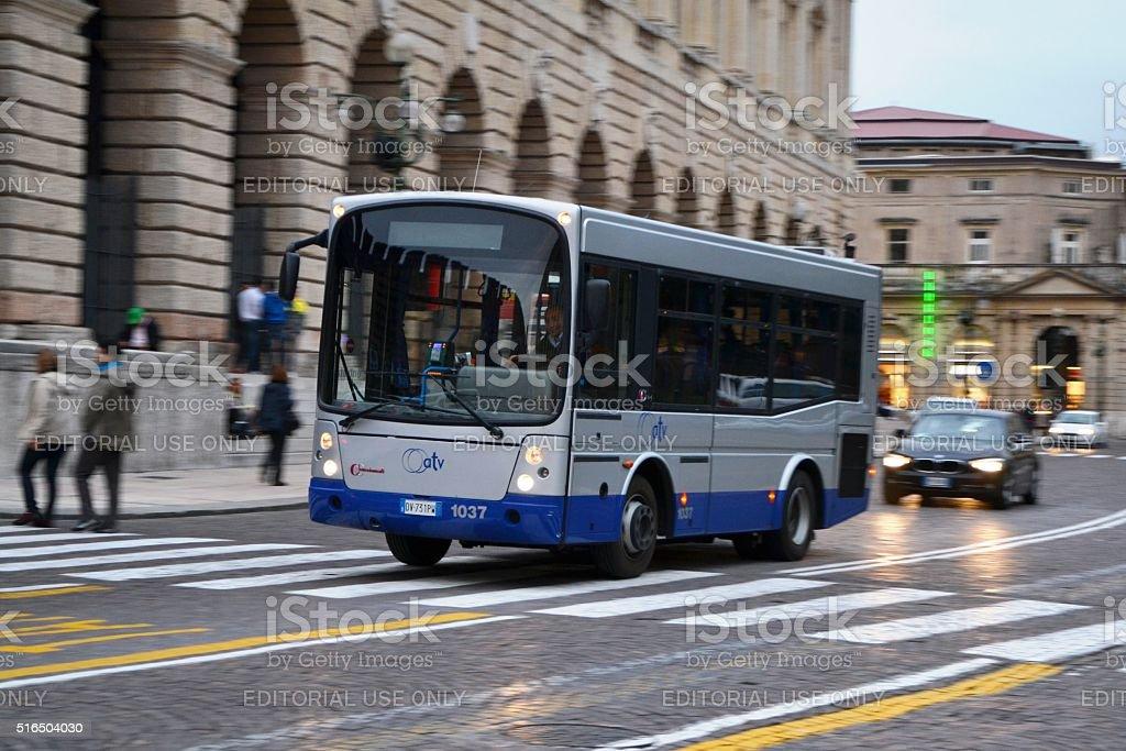 Small city bus in the centre of Verona stock photo