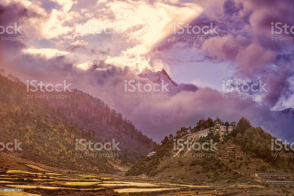 Small city in the mountains stock photo
