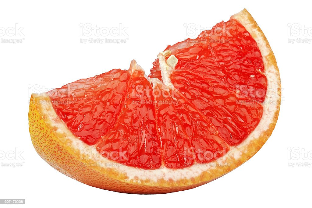 small clean slice of grapefruit on a white background stock photo