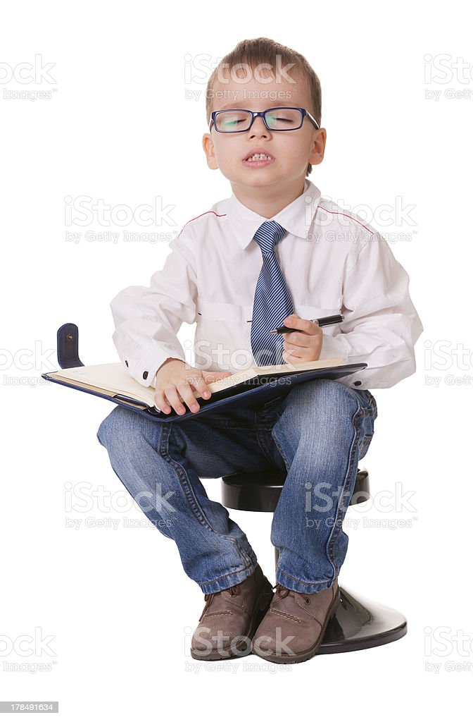 Small clever smart casual kid wishes royalty-free stock photo