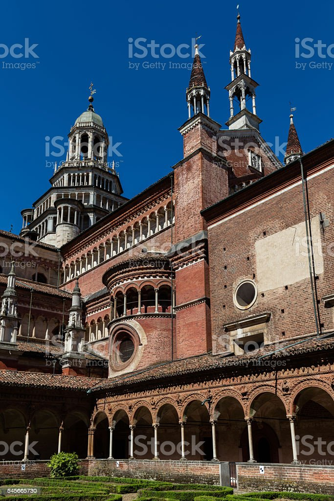 Small cloister of the Certosa di Pavia monastery, Italy stock photo
