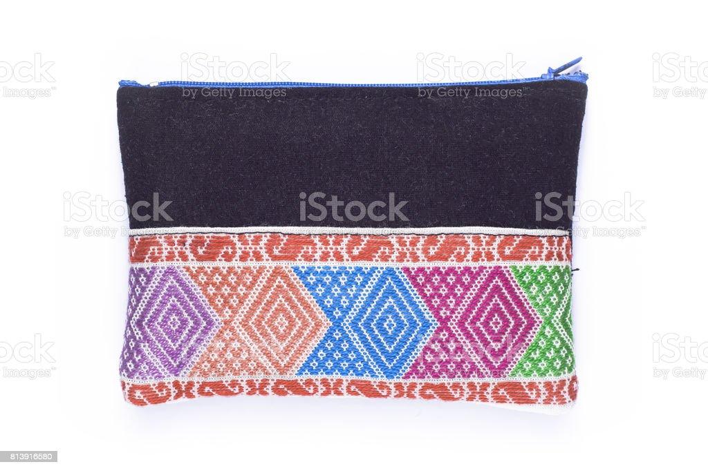 Small cloth bag woven multicolor black stock photo