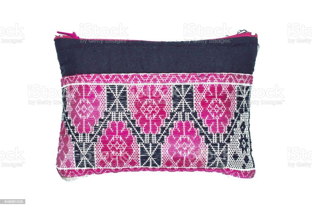 Small cloth bag woven pink black stock photo