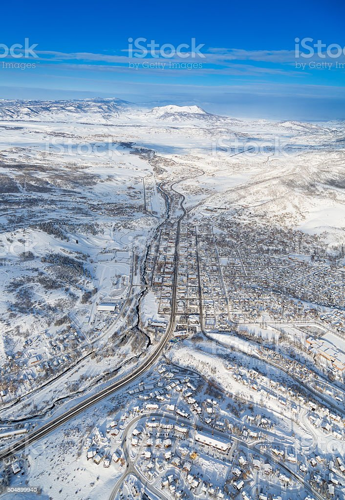 Small Colorado town from middair stock photo