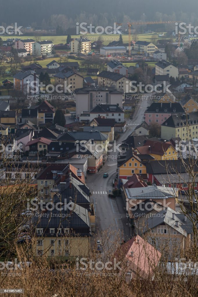 Small colorful town stock photo