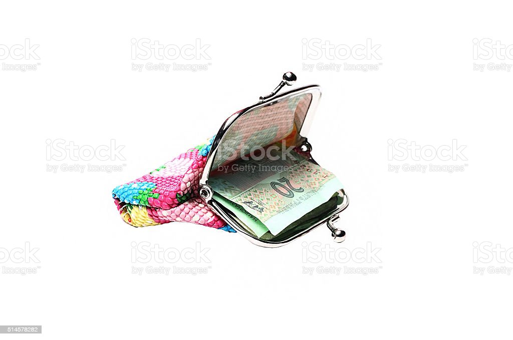 small colorful wallet of the hryvnia on a white background stock photo