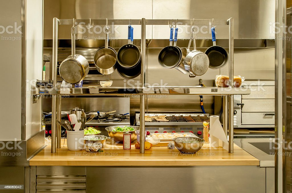 Small Commercial Kitchen with Pot Rack stock photo