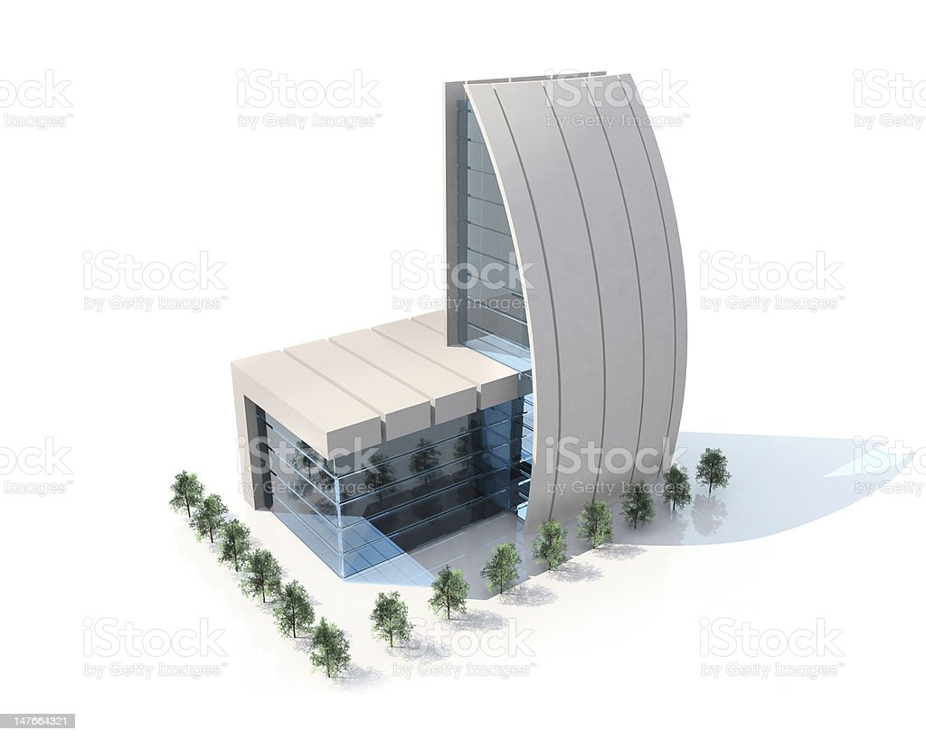Small contemporary architecture building on white background royalty-free stock photo