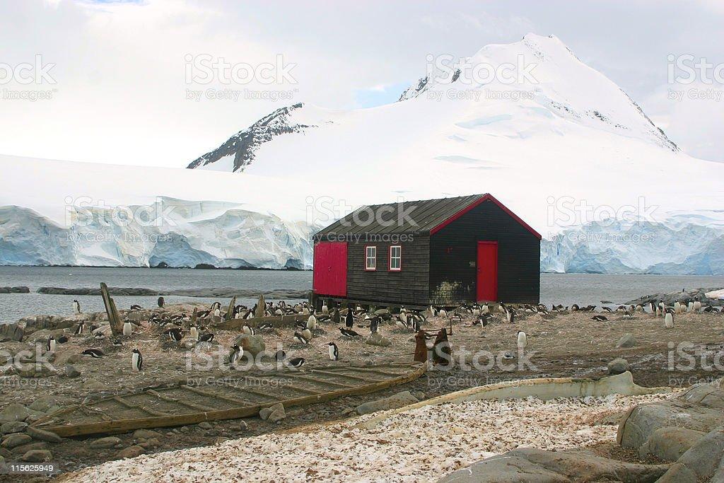 Small cottage in Port Lockroy, Antarctica stock photo