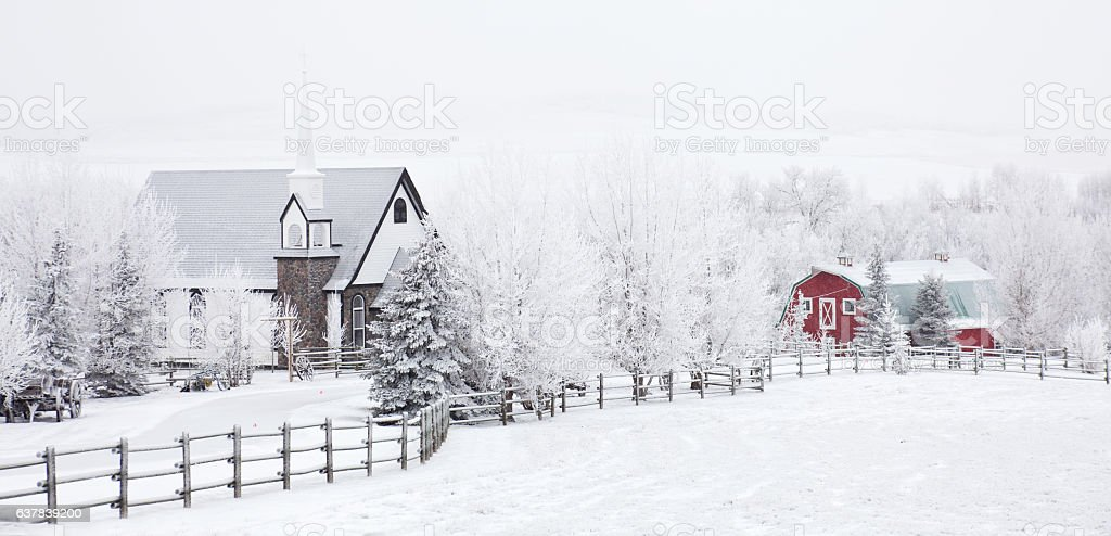 Small Country Church in Winter stock photo
