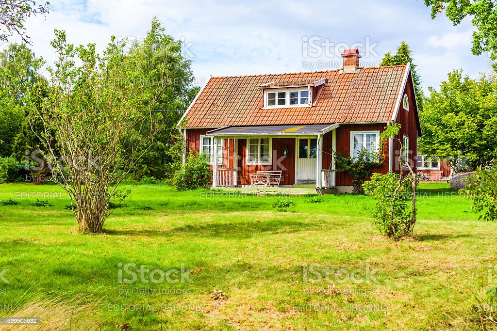 Small countryside house stock photo