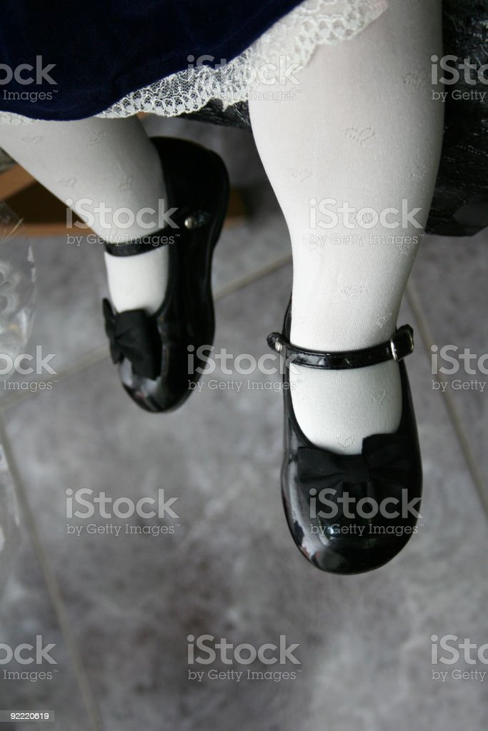 Small cute children's shoes with bows stock photo