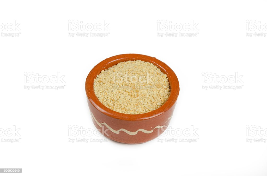 Small decorative bowl with minced cake on a white background stock photo
