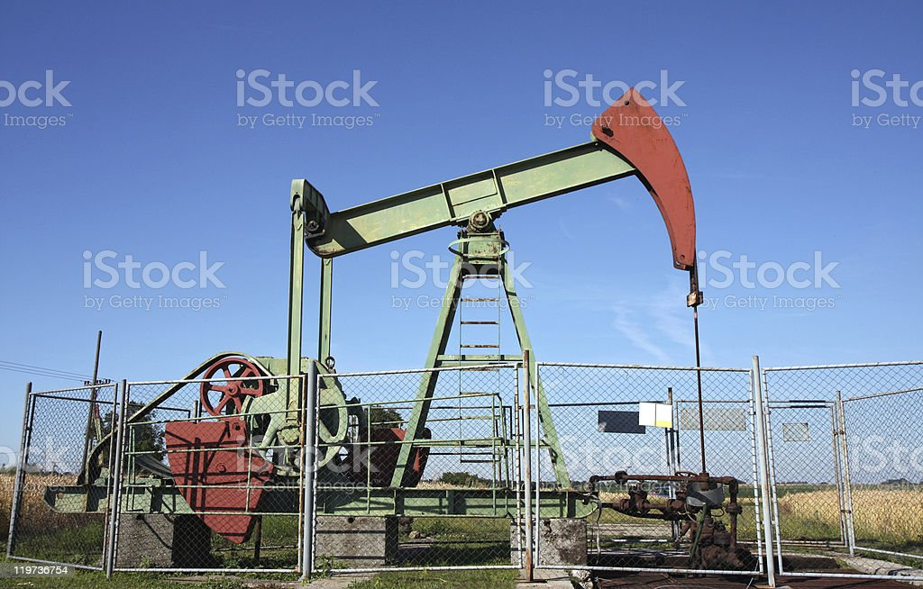 small deep mining crude oil well in europe stock photo